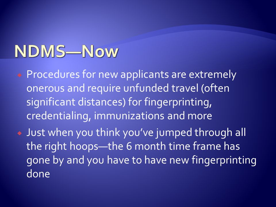NDMS—Now