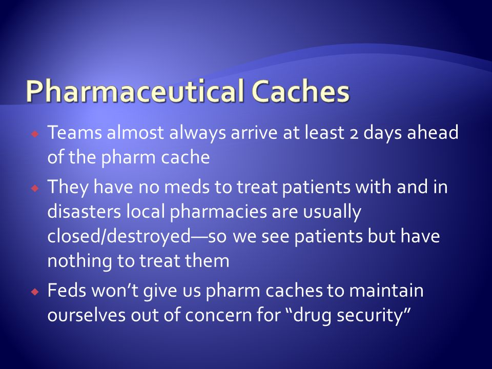 Pharmaceutical Caches