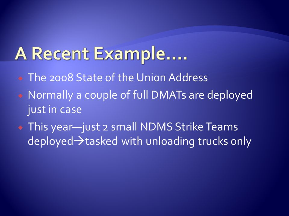 A Recent Example…. The 2008 State of the Union Address