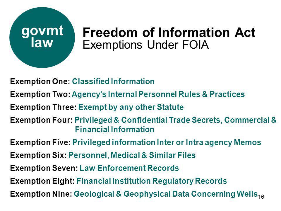 govmt law Freedom of Information Act Exemptions Under FOIA