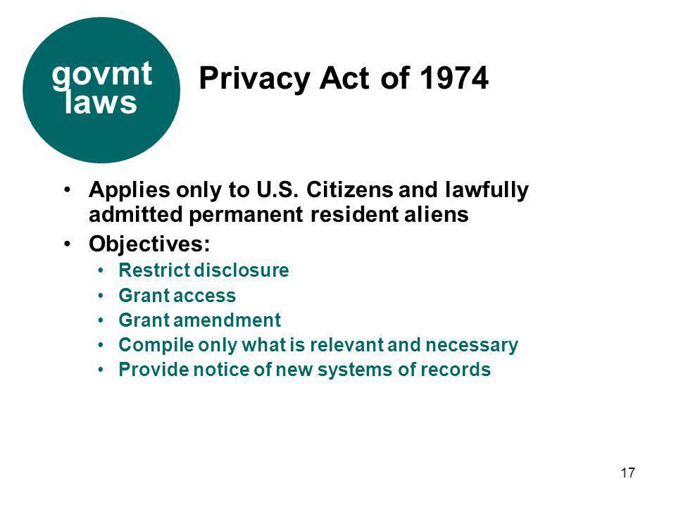 govmt laws Privacy Act of 1974