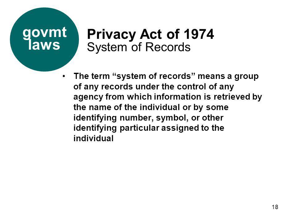 govmt laws Privacy Act of 1974 System of Records