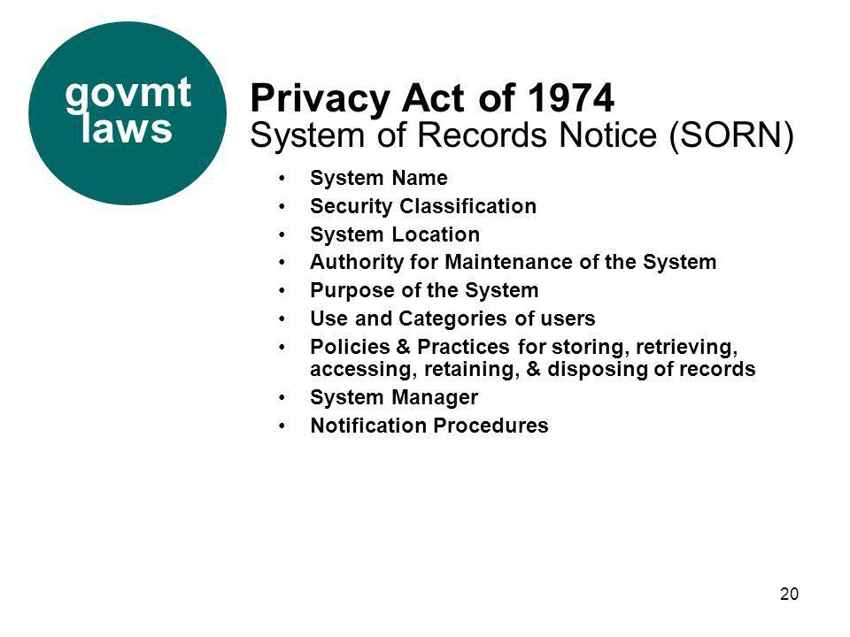 govmt laws Privacy Act of 1974 System of Records Notice (SORN)