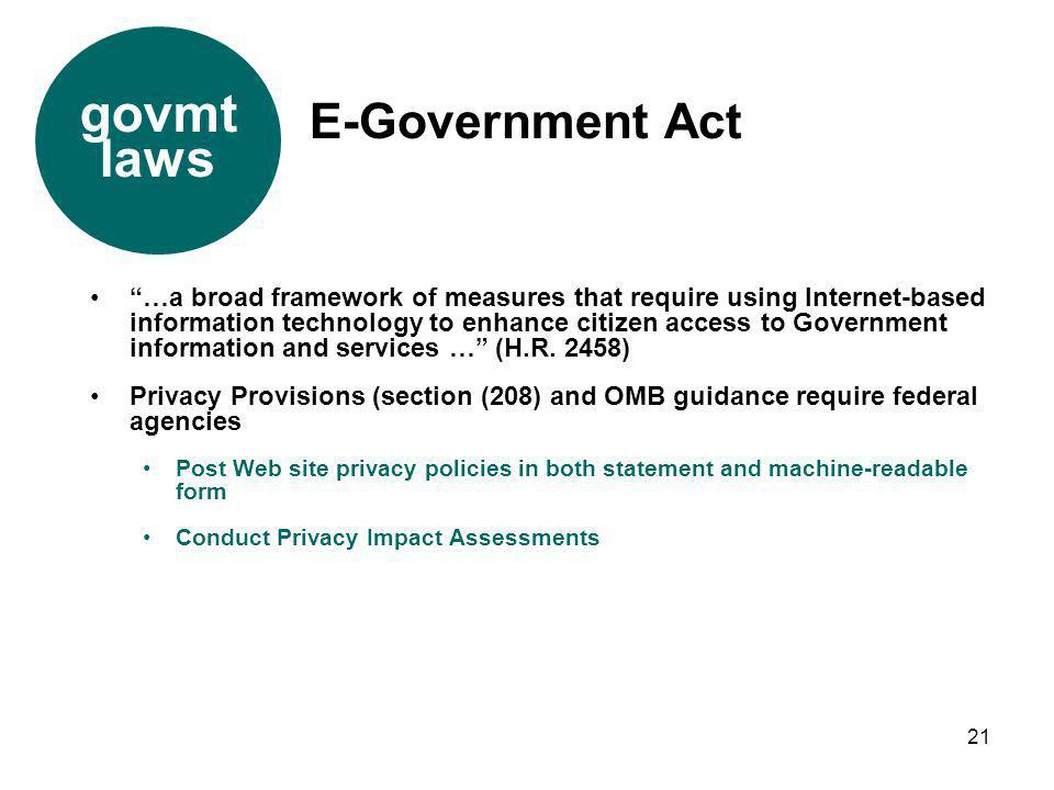 govmt laws E-Government Act
