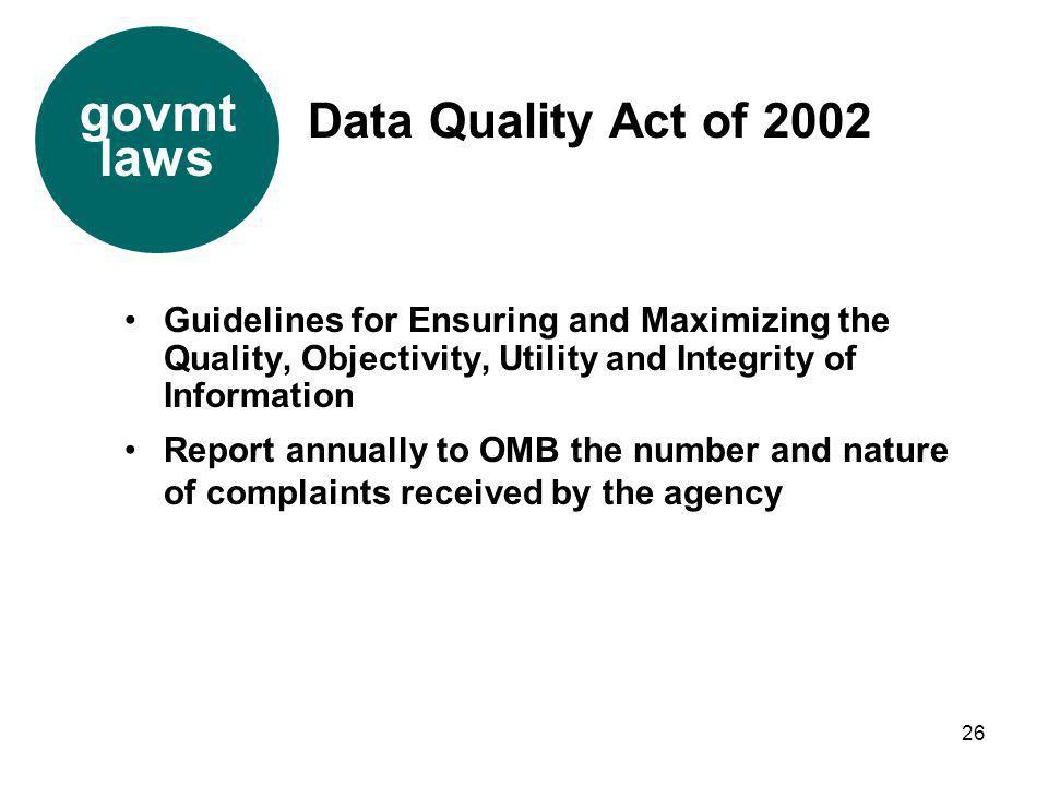 govmt laws Data Quality Act of 2002