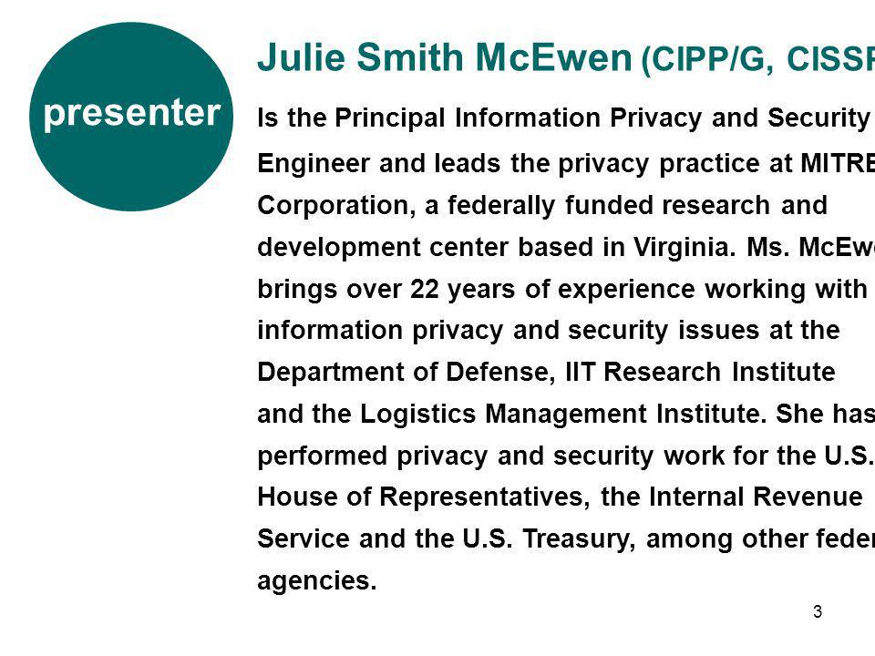 Julie Smith McEwen (CIPP/G, CISSP)
