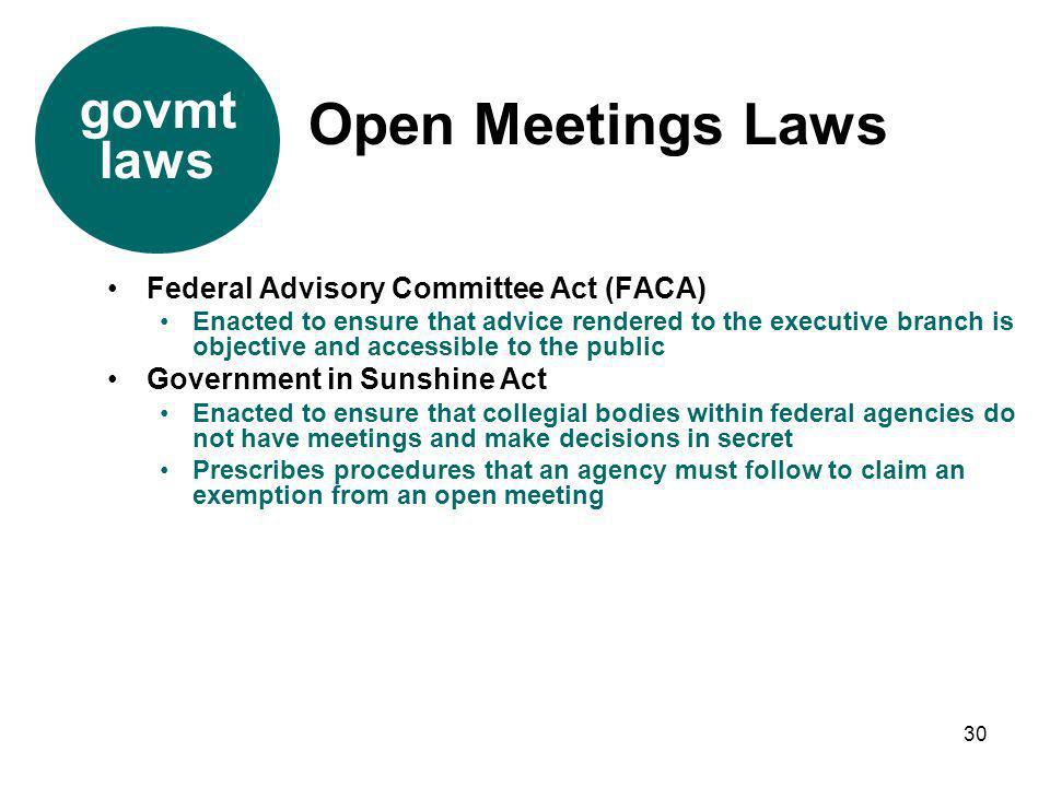 Open Meetings Laws govmt laws Federal Advisory Committee Act (FACA)