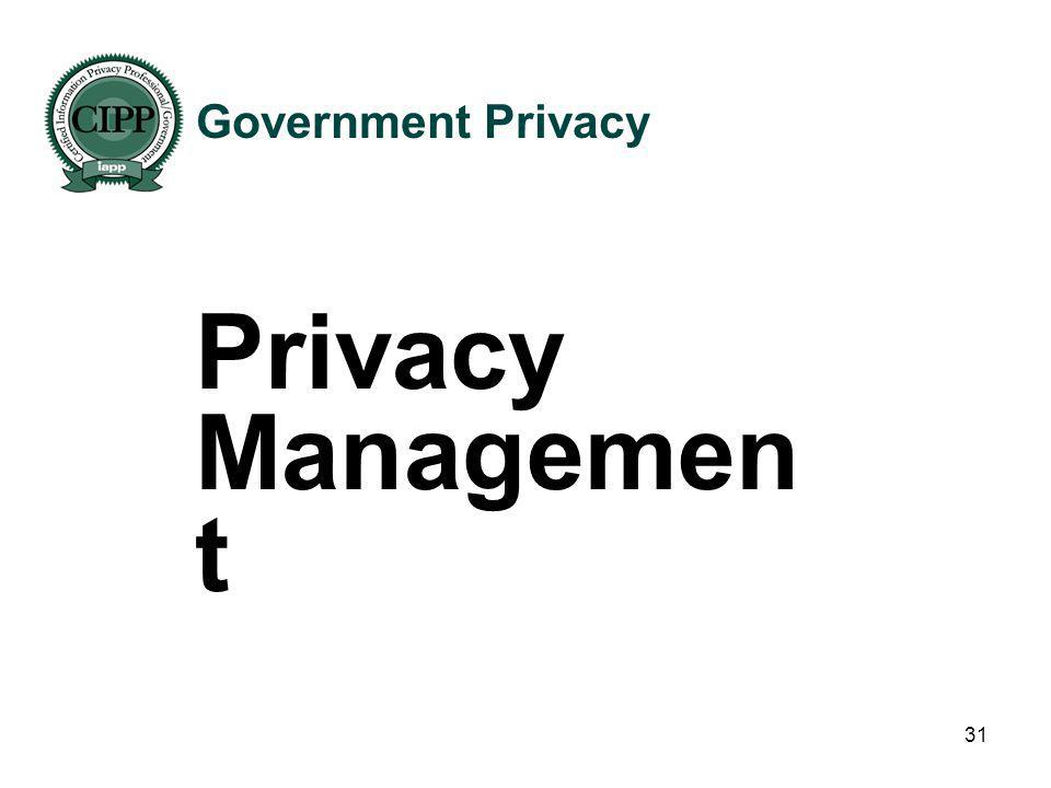 Government Privacy Privacy Management