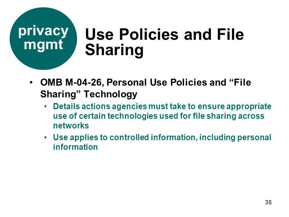Use Policies and File Sharing