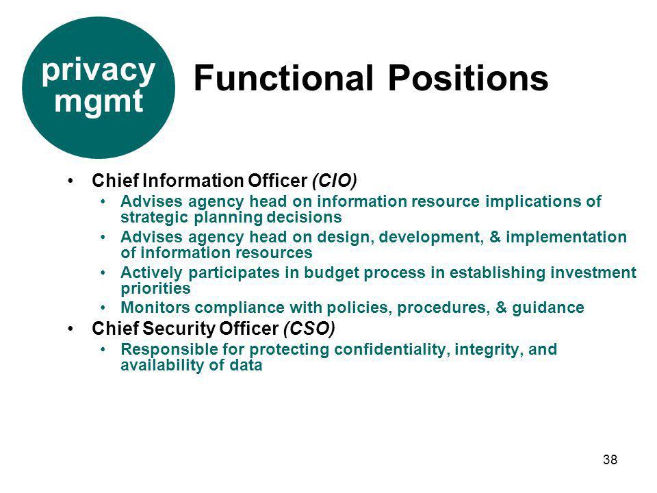 Functional Positions privacy mgmt Chief Information Officer (CIO)