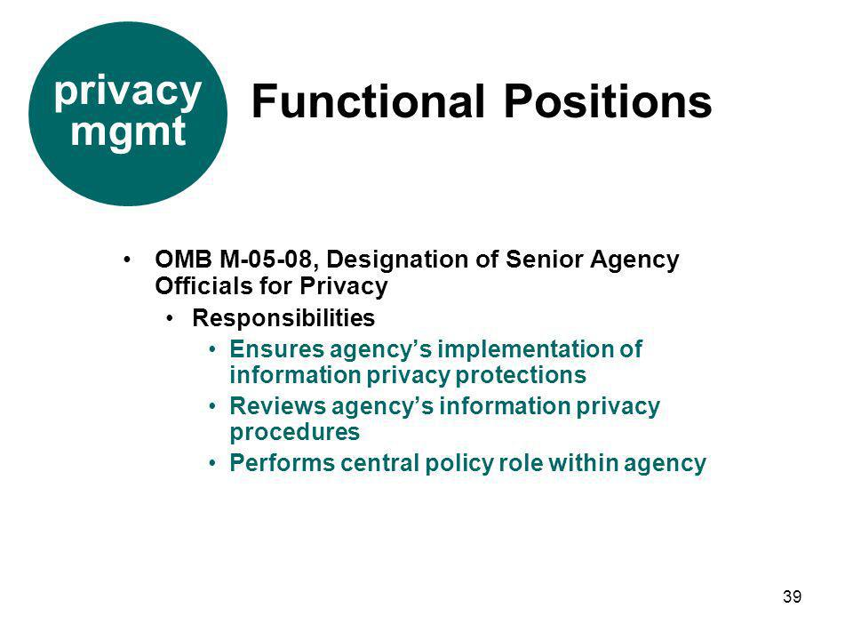 Functional Positions privacy mgmt