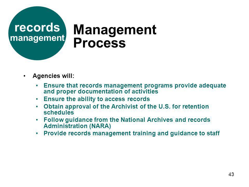 Management Process records management Agencies will: