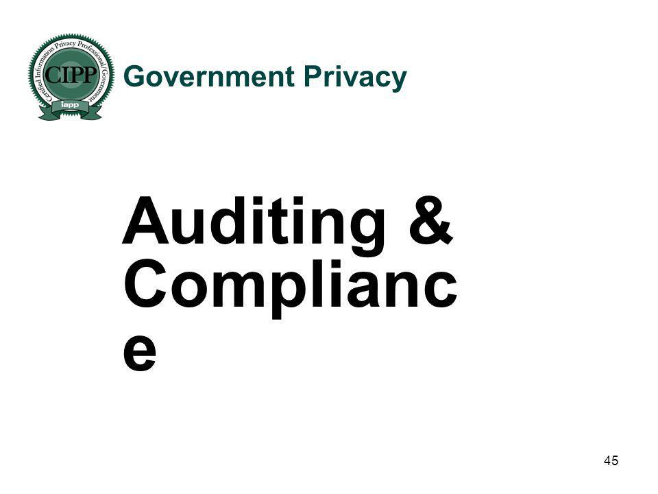 Government Privacy Auditing & Compliance