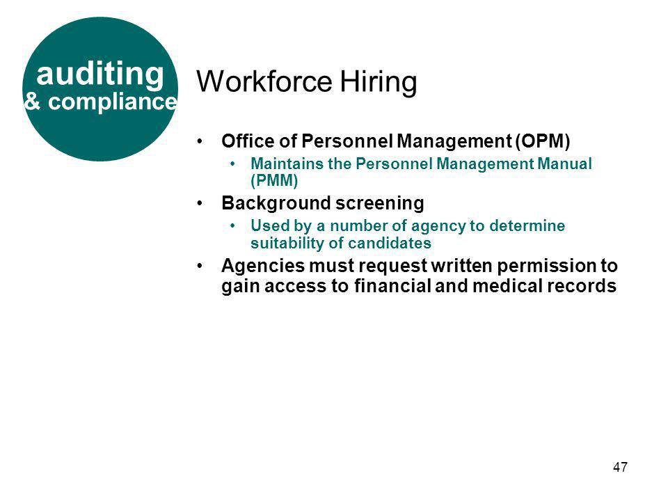 auditing Workforce Hiring & compliance