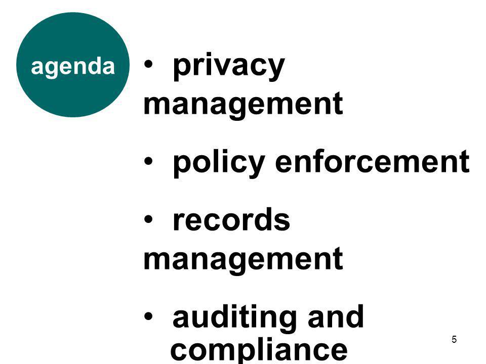 privacy management policy enforcement records management auditing and