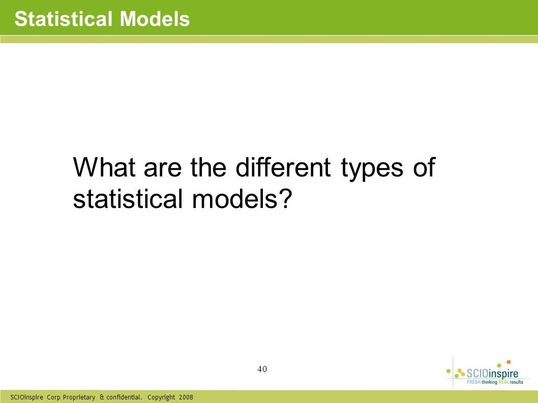 What are the different types of statistical models