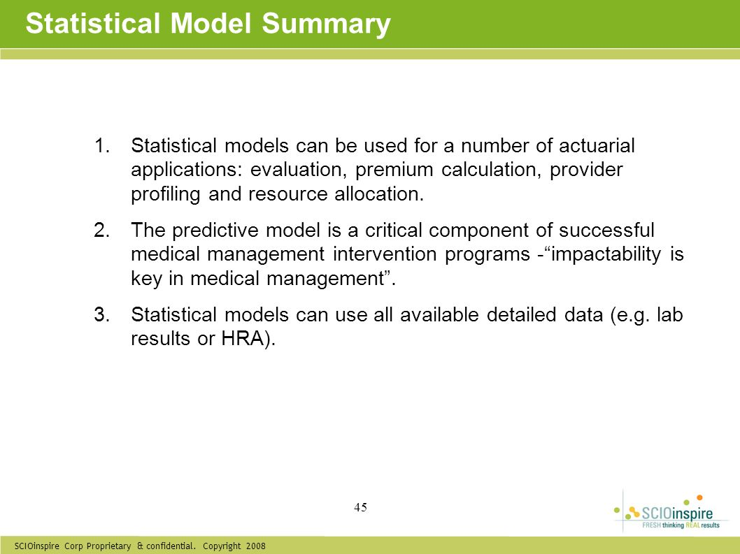 Statistical Model Summary