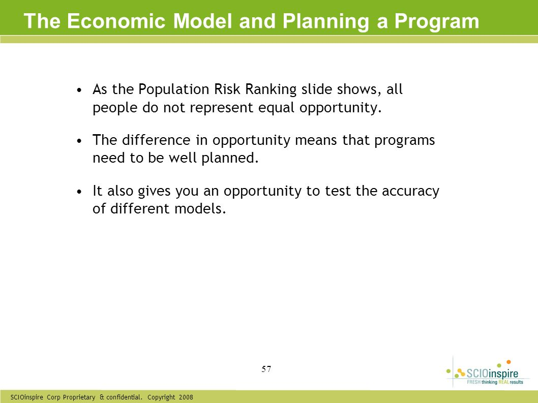 The Economic Model and Planning a Program