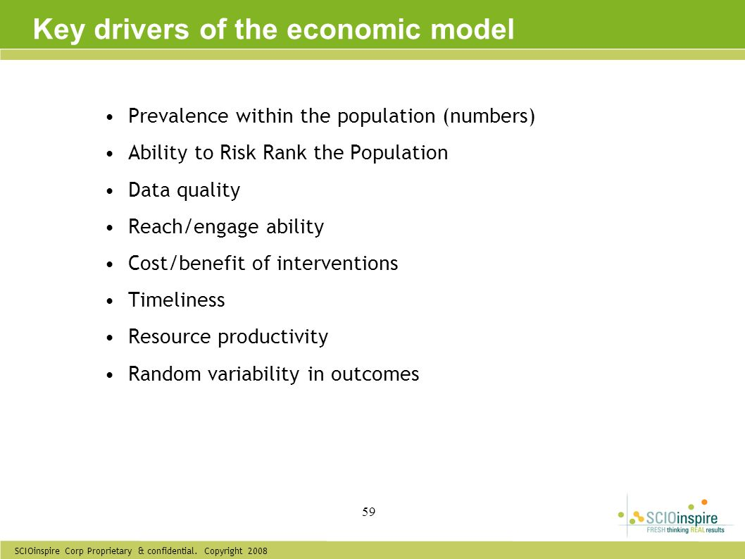 Key drivers of the economic model