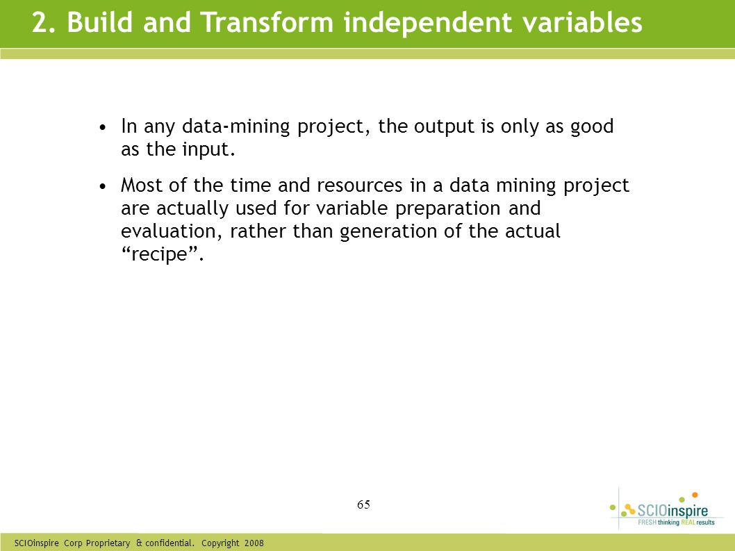 2. Build and Transform independent variables