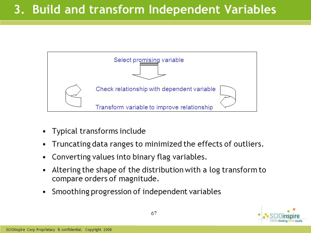 3. Build and transform Independent Variables