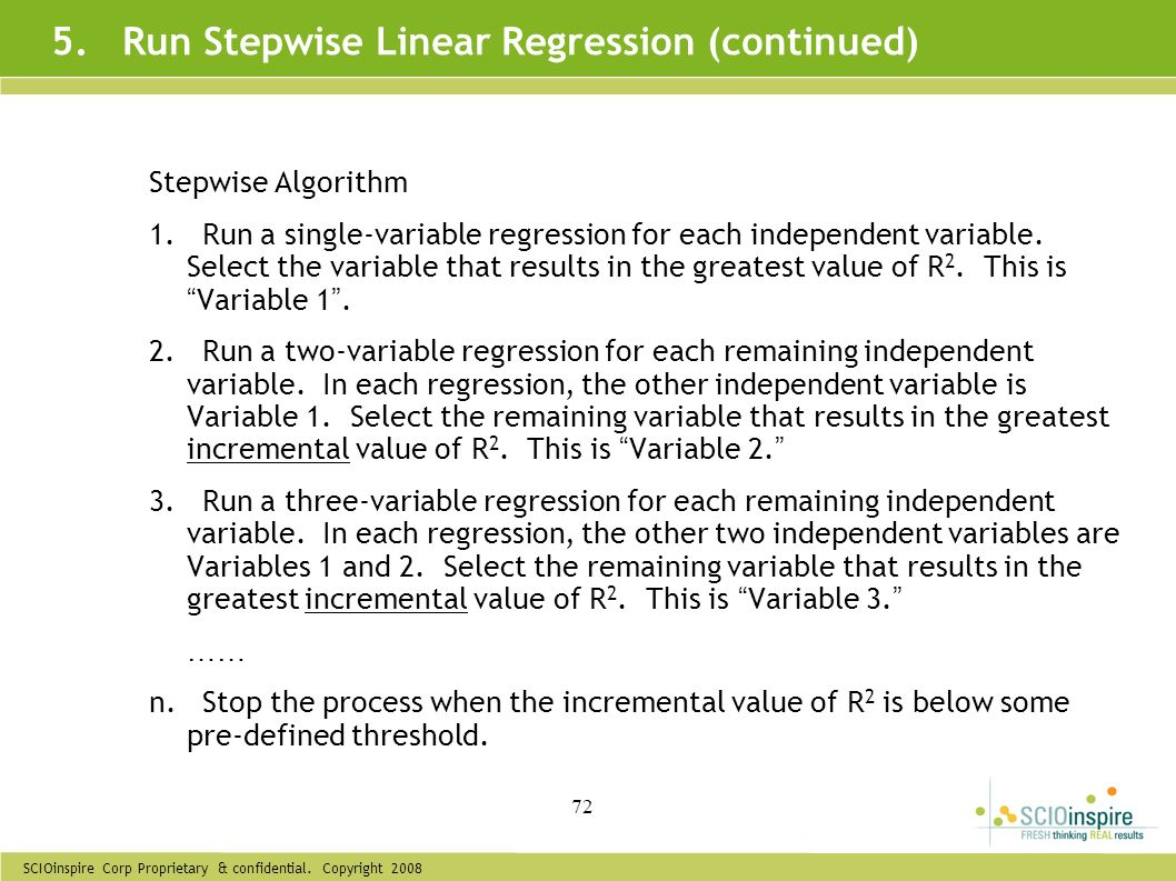 5. Run Stepwise Linear Regression (continued)