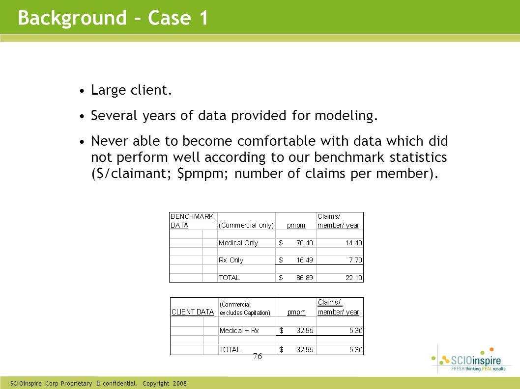 Background – Case 1 Large client.
