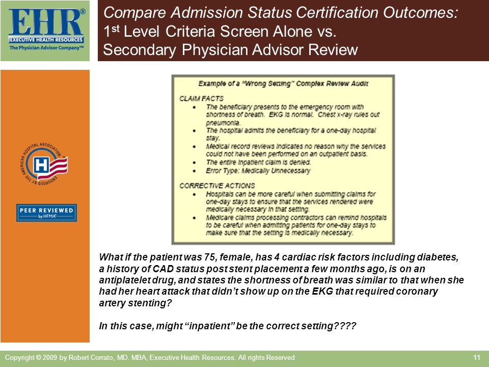 Compare Admission Status Certification Outcomes: