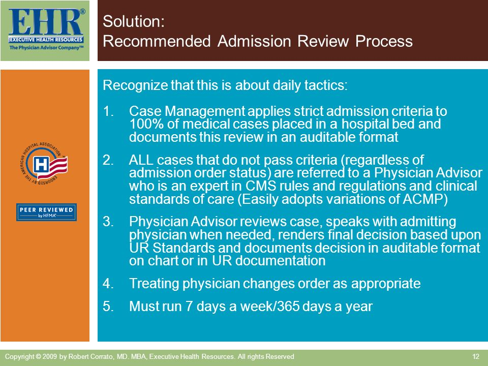 Solution: Recommended Admission Review Process