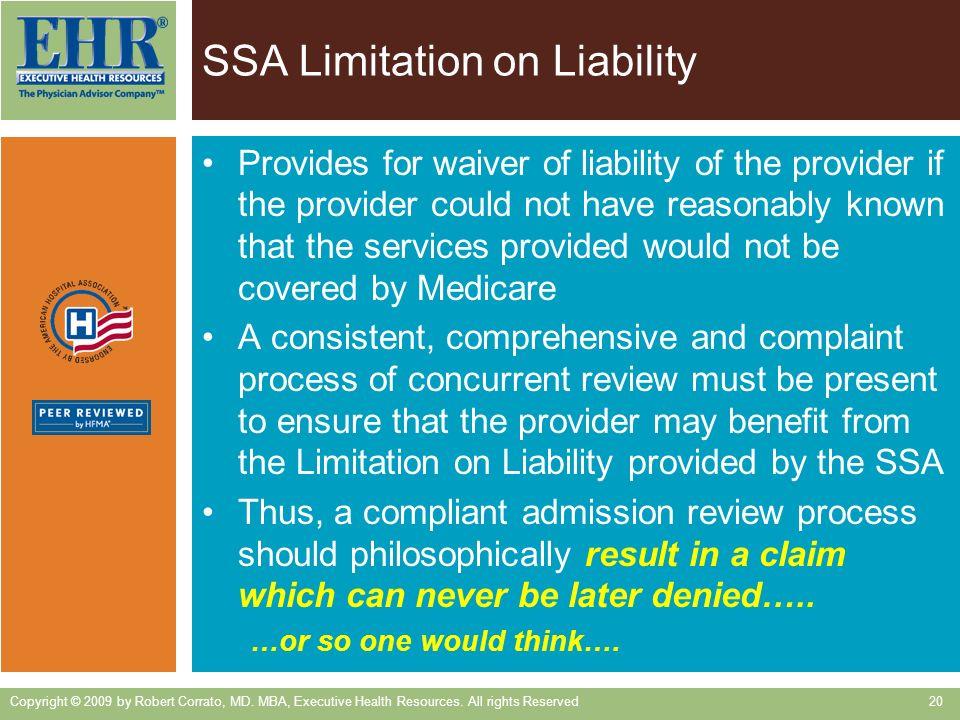 SSA Limitation on Liability