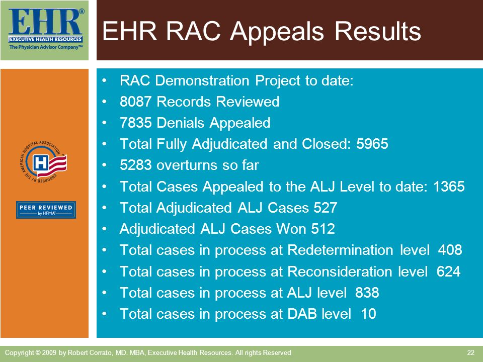EHR RAC Appeals Results