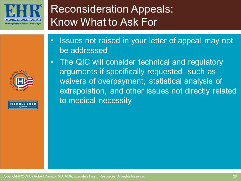 Reconsideration Appeals: Know What to Ask For