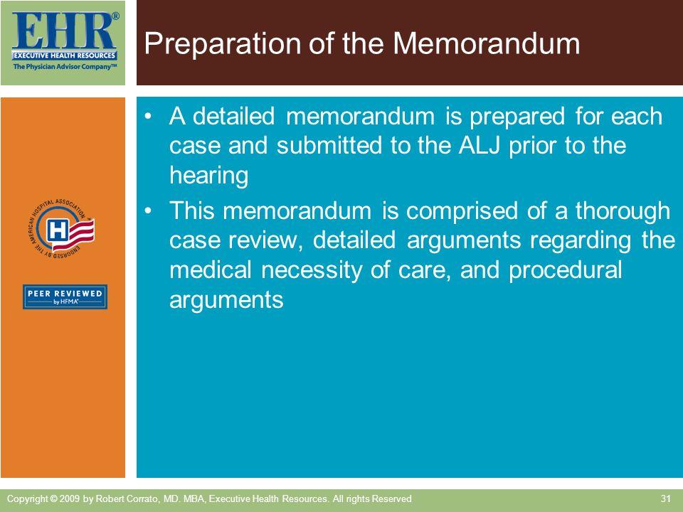 Preparation of the Memorandum