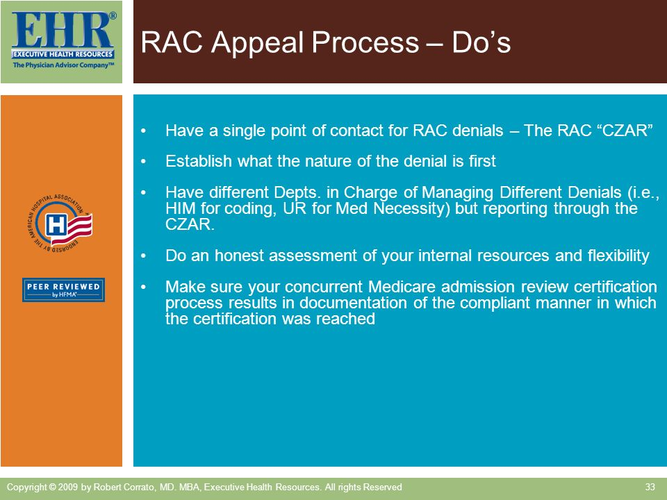 RAC Appeal Process – Do's