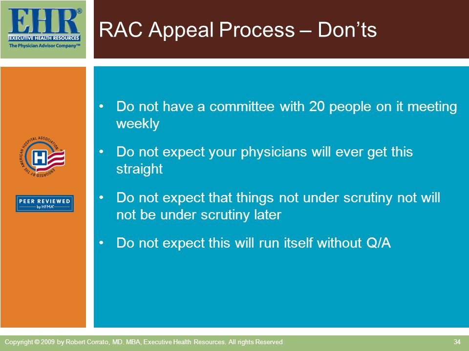 RAC Appeal Process – Don'ts