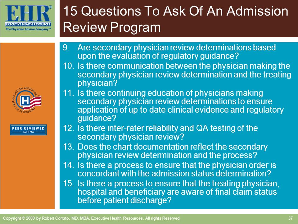 15 Questions To Ask Of An Admission Review Program