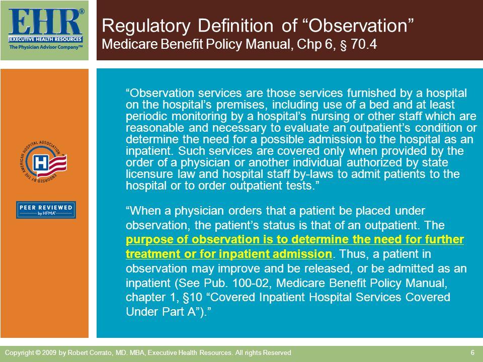 Regulatory Definition of Observation