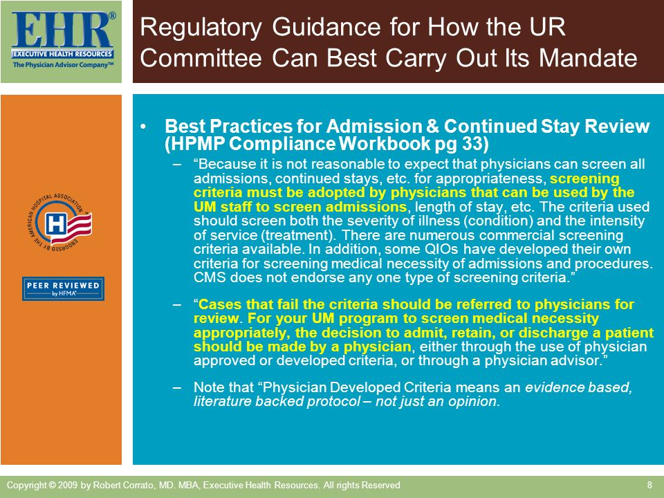 Regulatory Guidance for How the UR Committee Can Best Carry Out Its Mandate