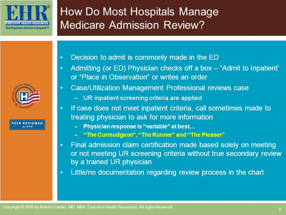 How Do Most Hospitals Manage Medicare Admission Review