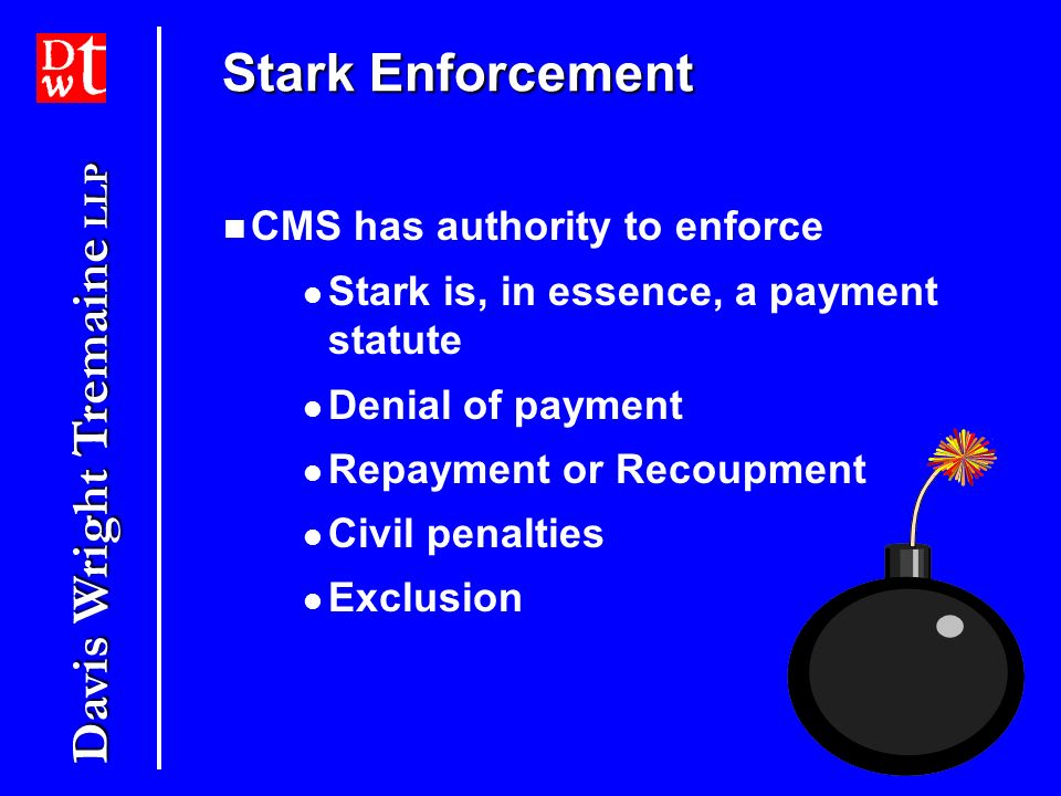 Stark Enforcement CMS has authority to enforce