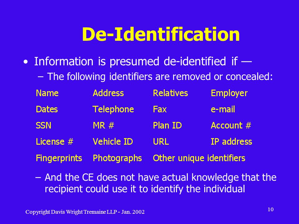 De-Identification Information is presumed de-identified if —