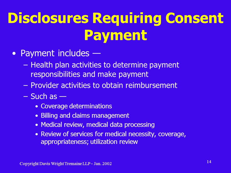 Disclosures Requiring Consent Payment