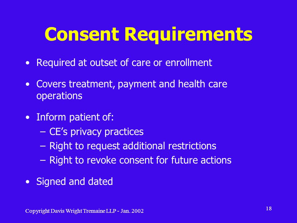 Consent Requirements Required at outset of care or enrollment