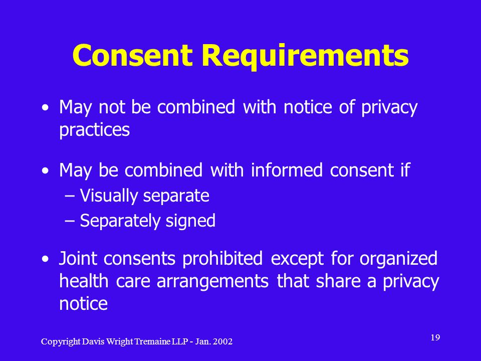 Consent Requirements May not be combined with notice of privacy practices. May be combined with informed consent if.
