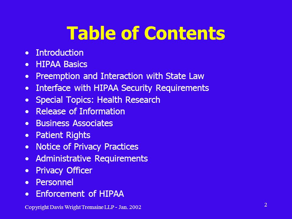 Table of Contents Introduction HIPAA Basics