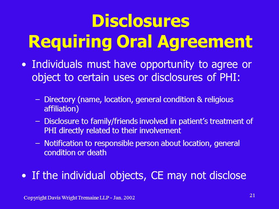 Disclosures Requiring Oral Agreement