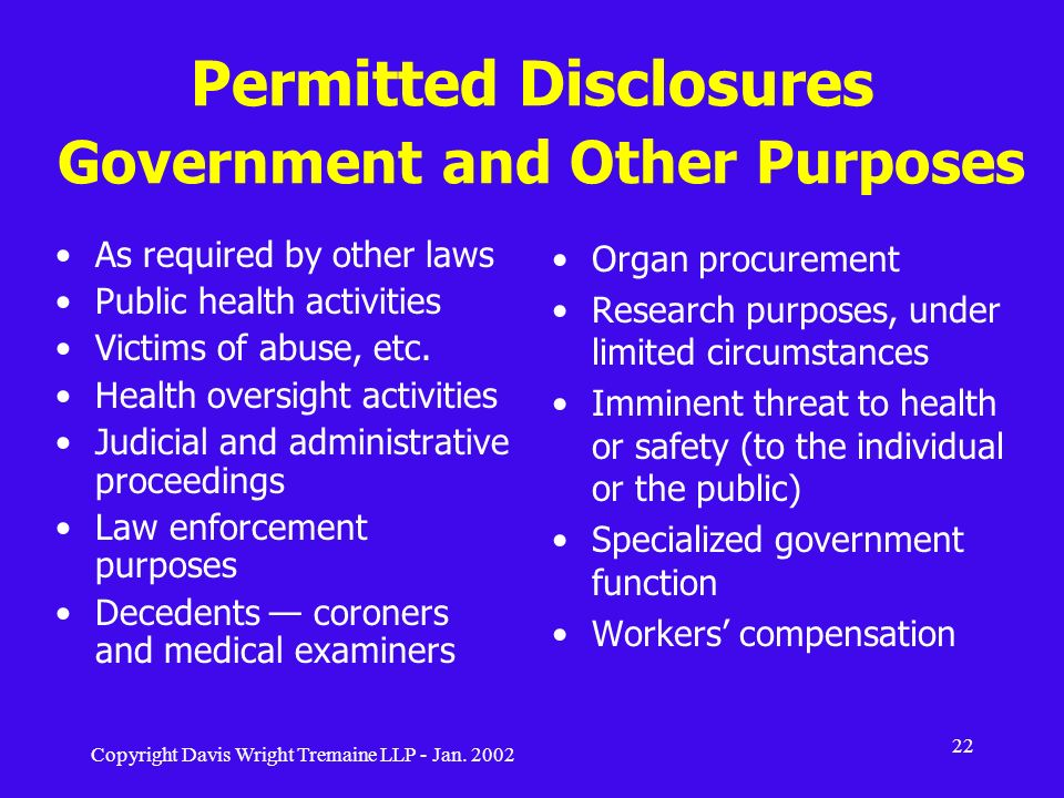 Permitted Disclosures Government and Other Purposes