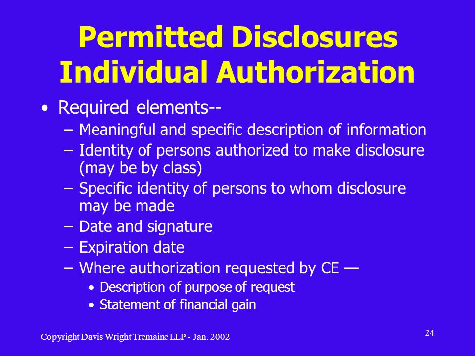 Permitted Disclosures Individual Authorization