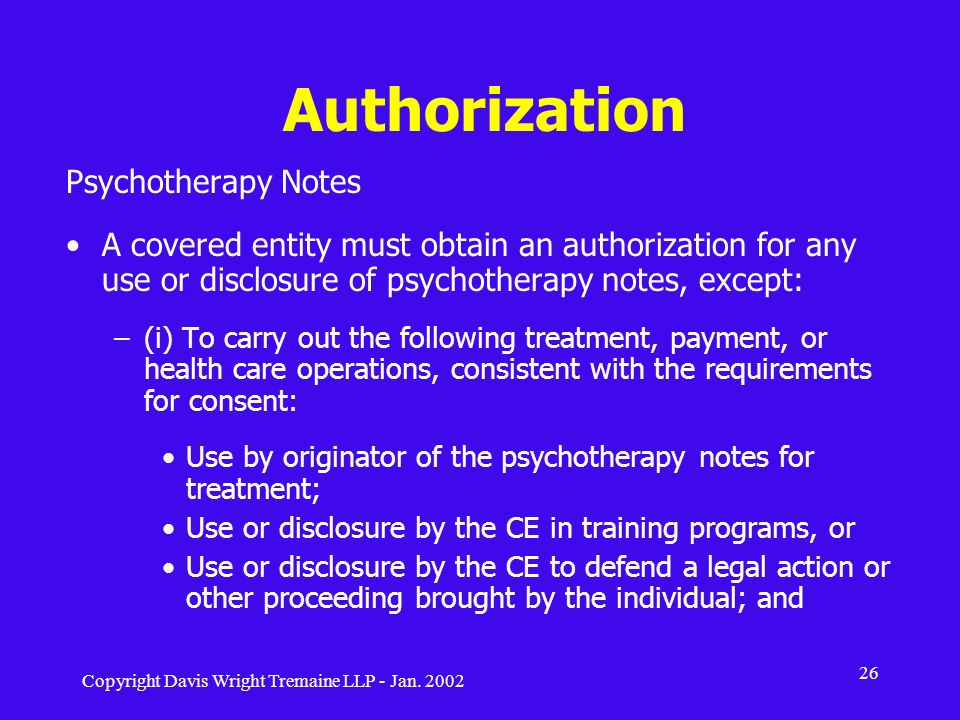 Authorization Psychotherapy Notes