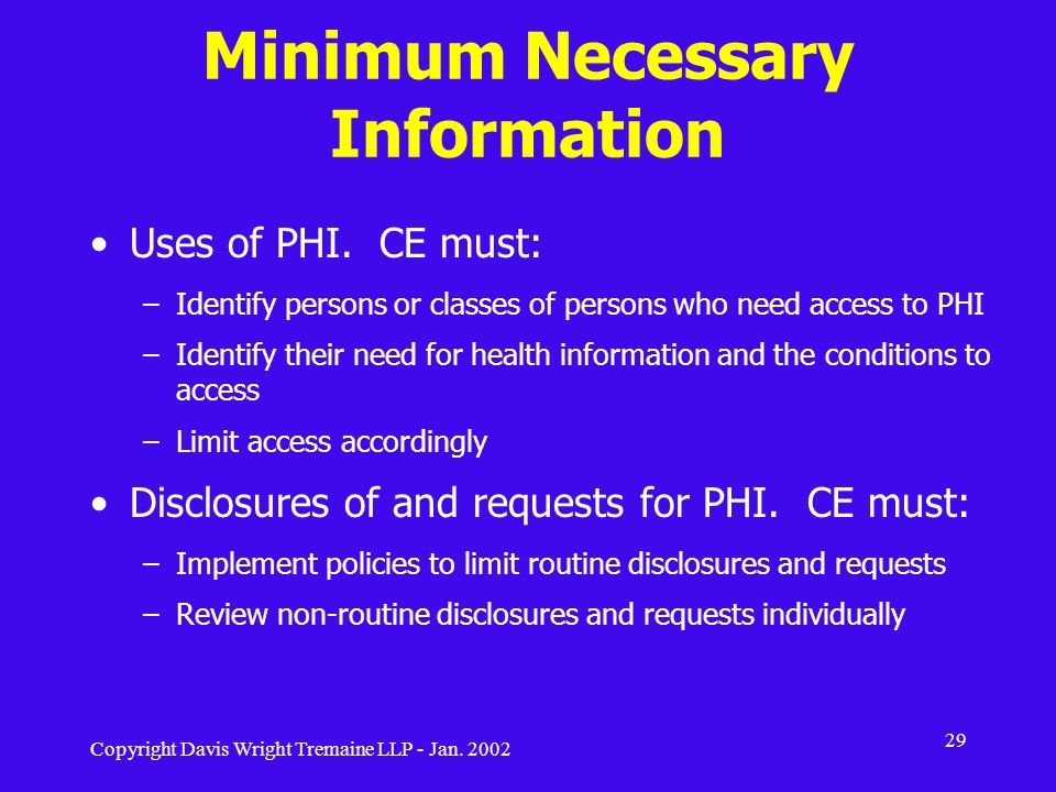 Minimum Necessary Information